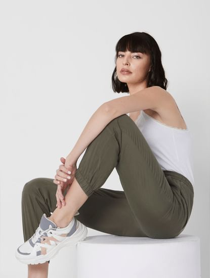Green Mid Rise Panelled Joggers