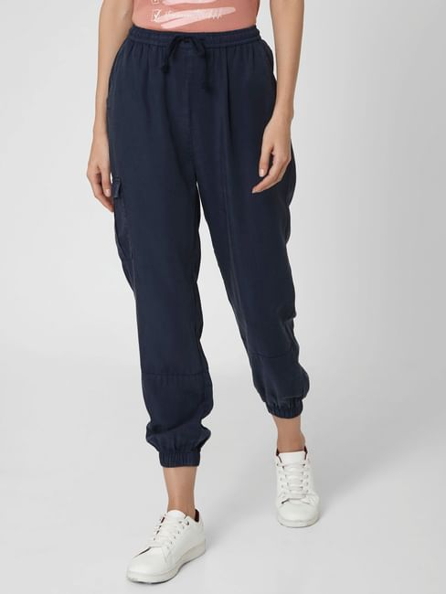 Navy Blue Mid Rise Joggers