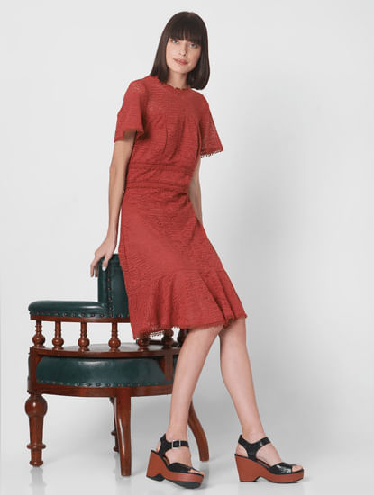 Rust Lace Fit & Flare Dress