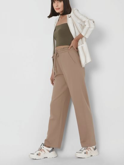 Light Brown High Rise Organic Cotton Wide Leg Trousers
