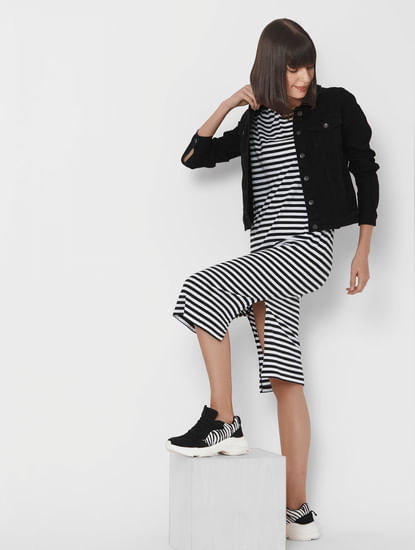 Black & White Striped T-shirt Dress
