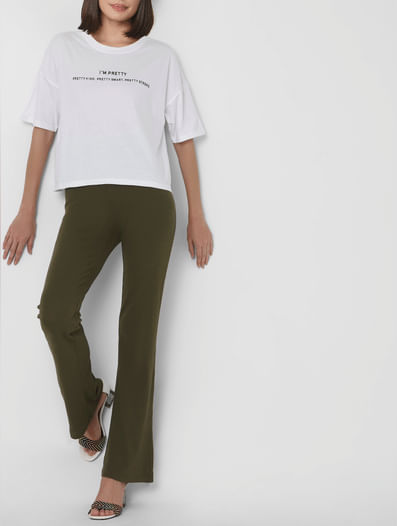 Green Mid Rise Organic Cotton Flared Pants