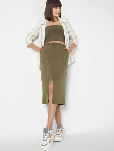 Brown High Waist Pencil Skirt