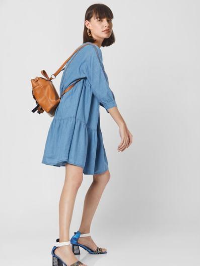 Blue Denim Tiered Shift Dress