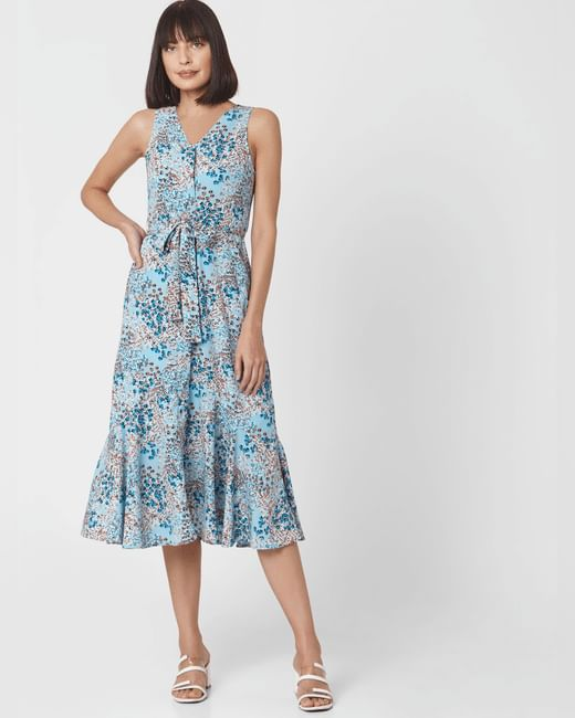 Blue Abstract Print Midi Dress
