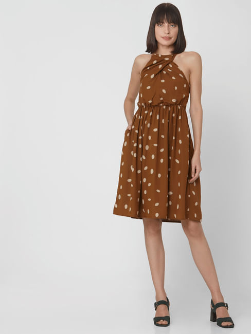 Brown Dotted Fit & Flare Dress