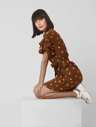 Brown Dotted Belted Shift Dress