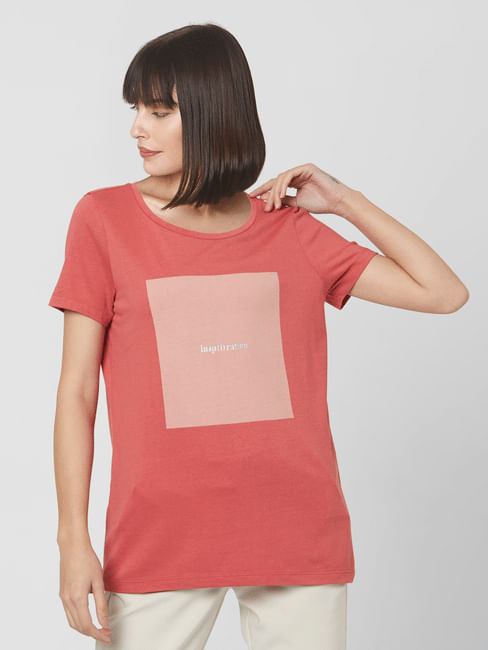 Coral Graphic Print T-shirt