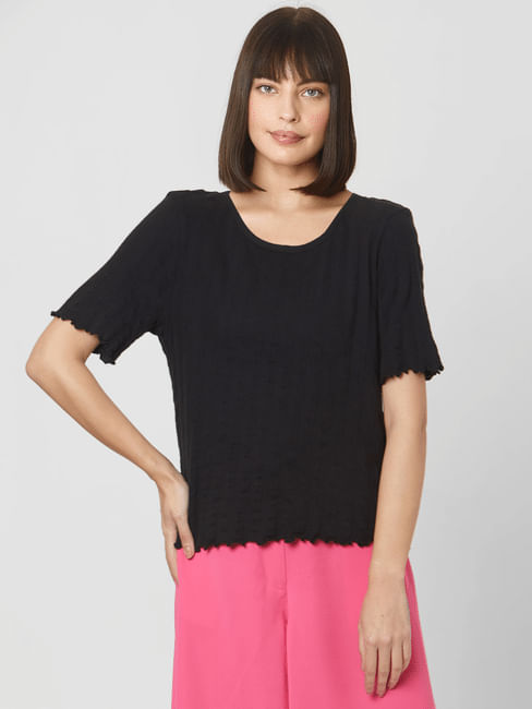 Black Textured Lettuce Edge Sleeves Top