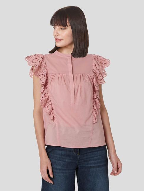 Pink Schiffli Ruffle Top