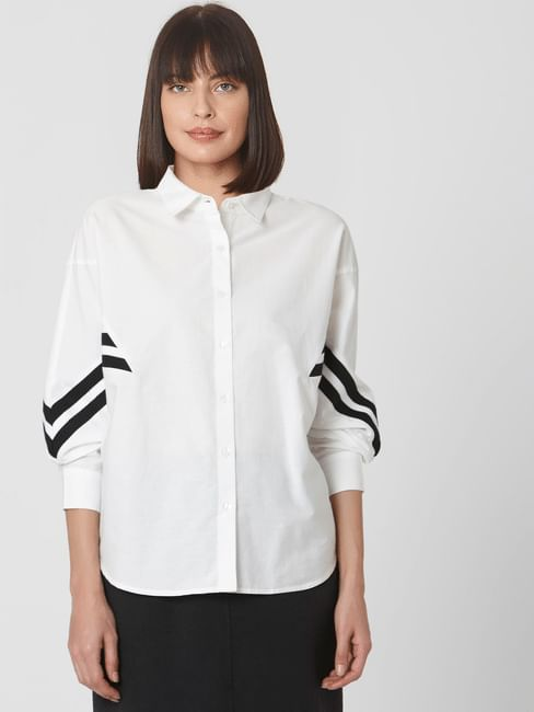 White Contrast Stripe Detail Shirt