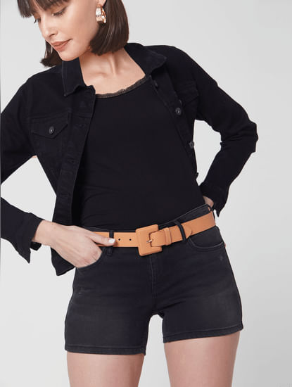 Tan Faux Leather Waist Belt