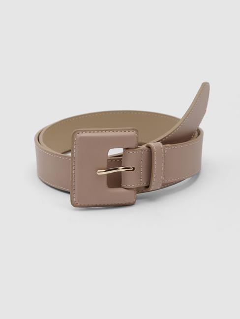 Beige Faux Leather Waist Belt