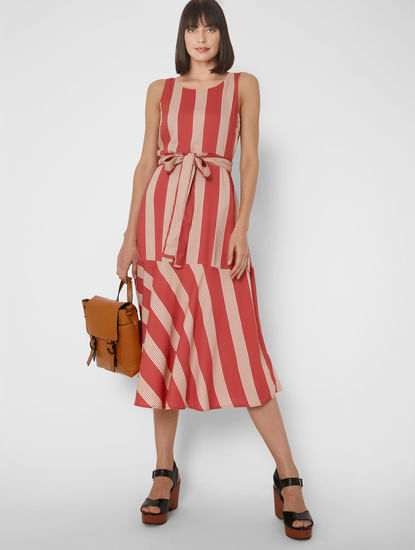 Pink Striped Belted Midi Dress