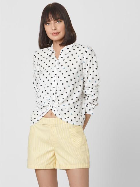 Monochrome Polka Dot Front Twist Shirt
