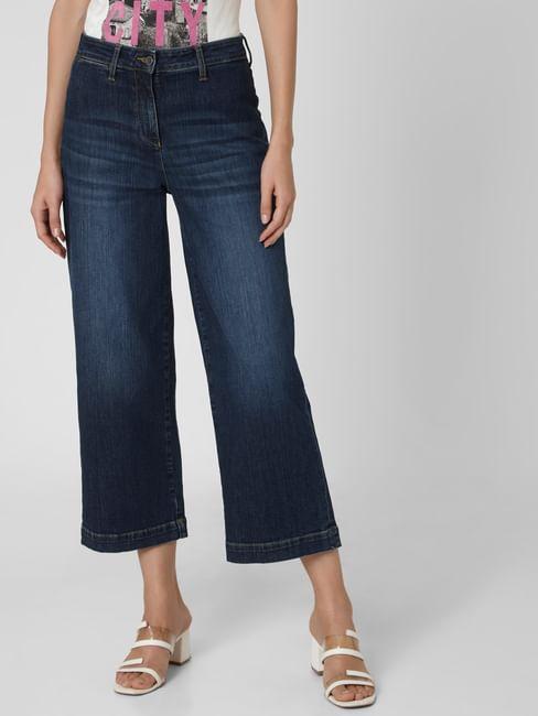 Dark Blue Mid Rise Wide Leg Jeans
