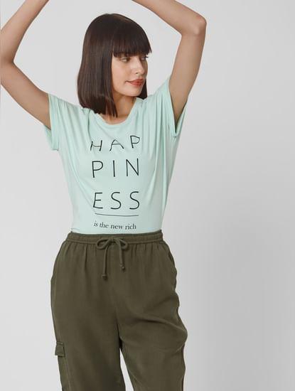 Light Blue Text Print T-shirt
