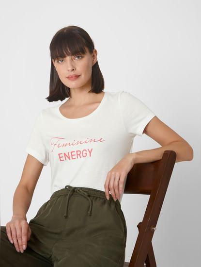 White Feminine Energy Typography Print T-shirt