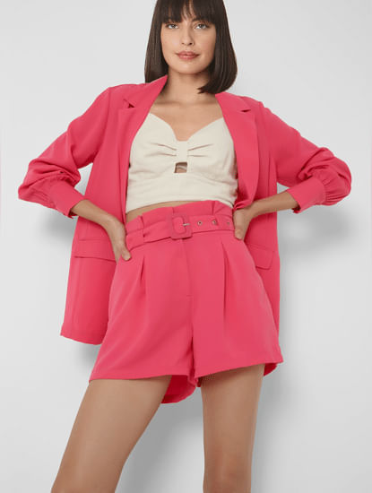 Pink High Rise Belted Shorts