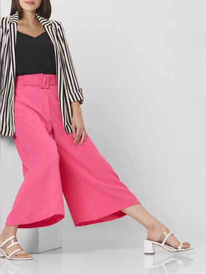 Pink High Rise Belted Culottes
