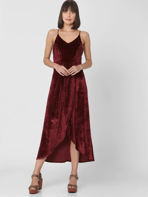 Wine High Low Midi Dress