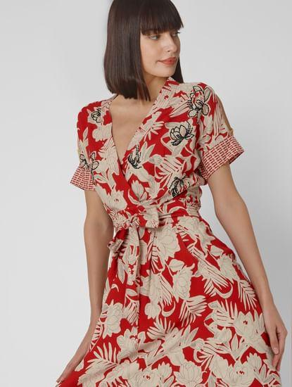 Red All Over Print Overlap Midi Dress