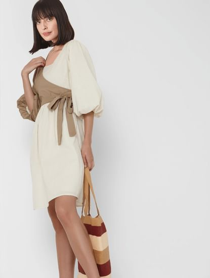 Beige Overlap Belted Fit & Flare Dress