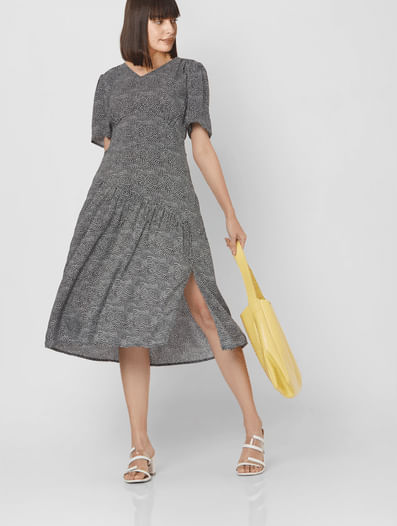 Black All Over Ditsy Print Fit & Flare Dress