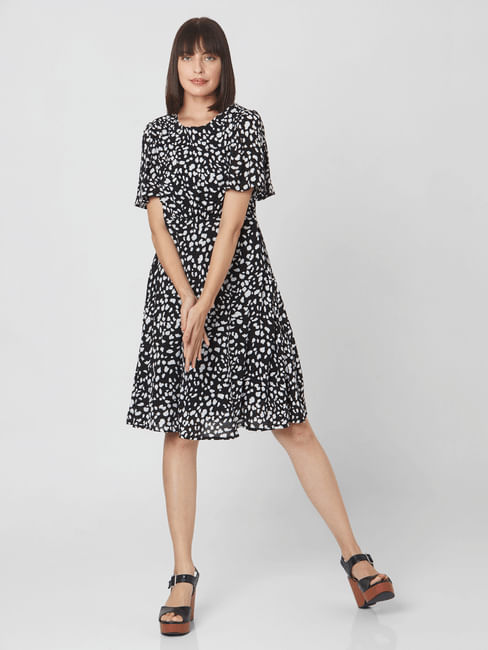 Black Abstract Print Fit & Flare Dress