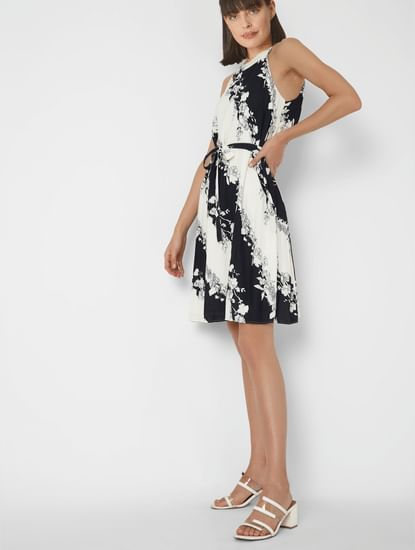 Black & White Floral Pleated Fit & Flare Dress