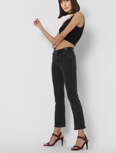 Black Mid Rise Boot Cut Jeans