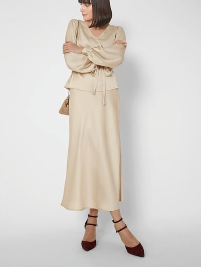 Beige High Waist Midi Skirt