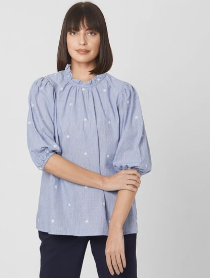 Light Blue All Over Print Puff Sleeves Top