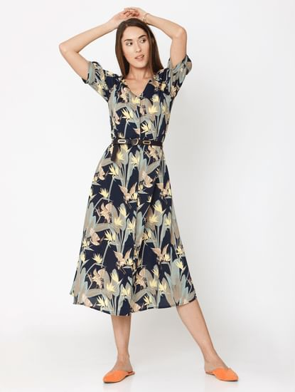 Navy Blue Floral Print Midi Dress
