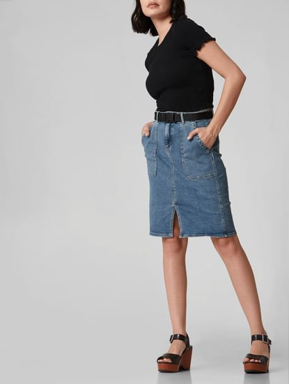 Blue Mid Rise Pencil Denim Skirt