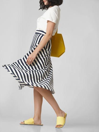 White Striped Asymmetric Skirt