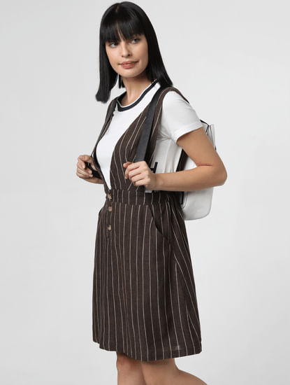 Brown Striped Pinafore Dress