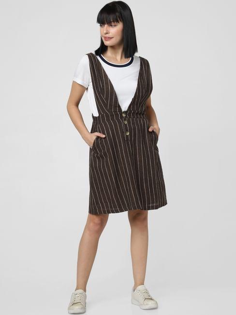 Brown Striped Pinafore Dress