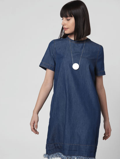 Dark Blue Frayed Hem Shift Dress