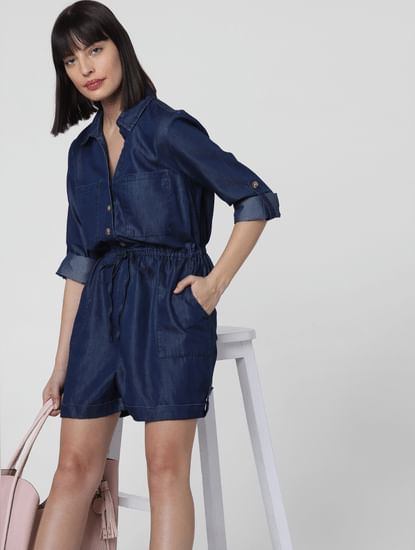 Dark Blue Cinched Waist Playsuit