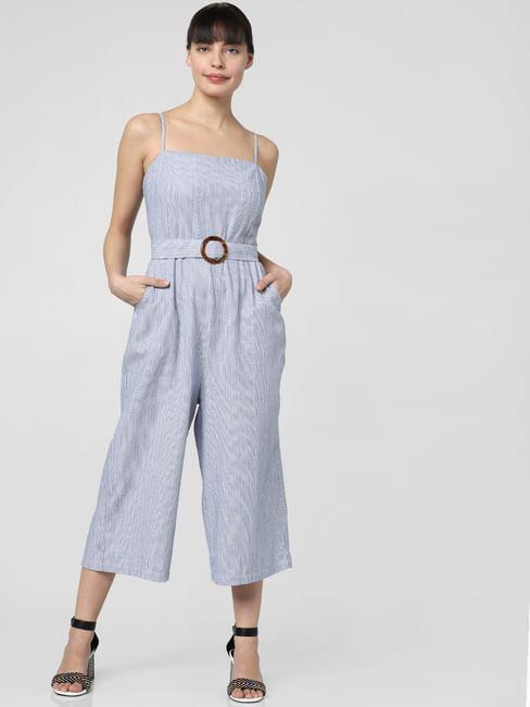 Blue Belted Jumpsuit