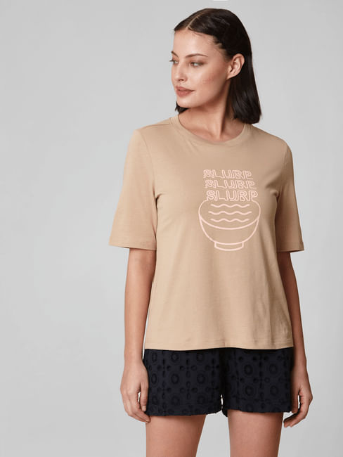 Beige Graphic Print T-shirt