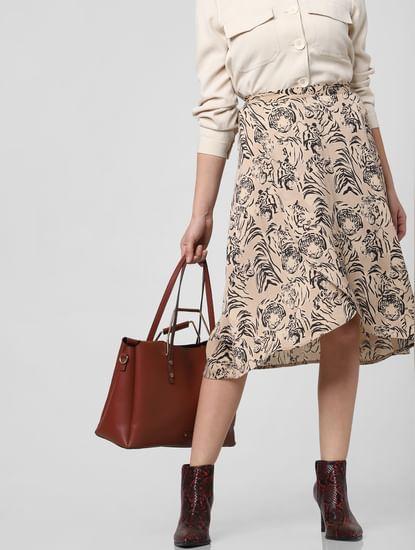 Beige Mid Rise Animal Print Skirt