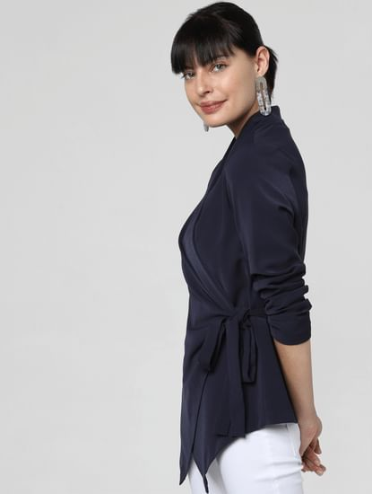 Navy Blue Wrap Jacket
