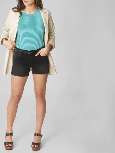 Black Low Rise Denim Shorts