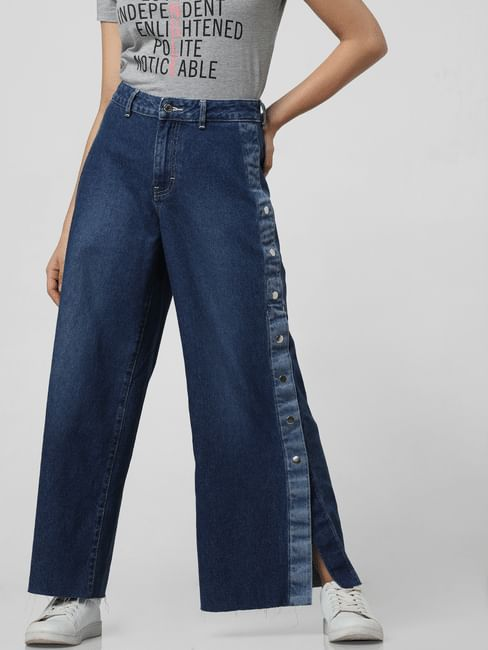 Blue Mid Rise Side Snap Detail Jeans
