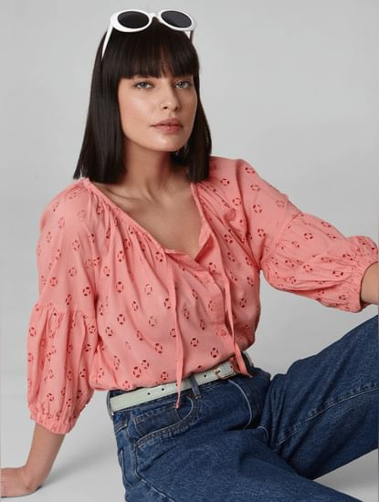 Peach Cut Work Detail Top