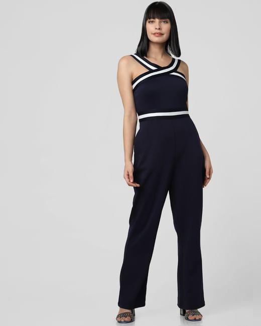 Navy Blue Criss-Cross Neck Jumpsuit