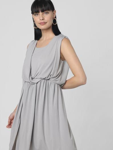 Grey Fit & Flare Dress