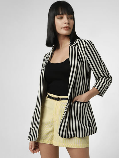 Black Striped Tailored Blazer